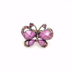 Adjustable Purple Rhinestone Bling Butterfly Ring